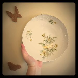Antique Ferns Flowers Serving Bowl